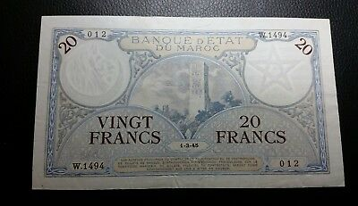 Morocco  P-18  20 Francs 1-3-1945 higher grade