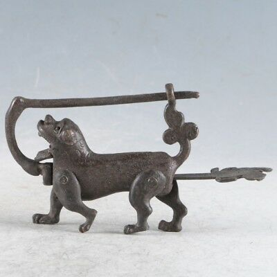 Rare Collectibles Chinese Old Style Brass Handmade Dog Lock With Key LLS11