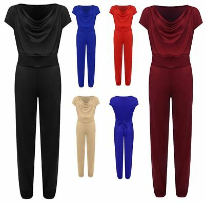 New Women Sleeveless Suede Full Length Belted Pocket Cowl Neck Ladies Jumpsuit
