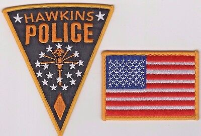 Stranger Things TV Series Patch Set Of (2) Hawkins Police Patch & USA Flag Patch