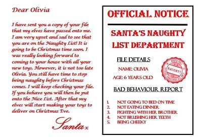 Naughty warning personalised or blank letter from santa christmas naughty warning personalised or blank letter from santa christmas post spiritdancerdesigns Image collections
