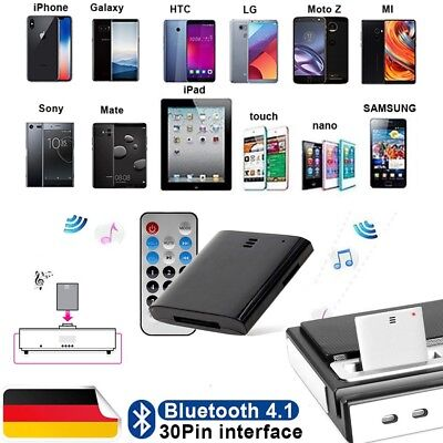 30Pin Bluetooth 4.1 Musik Empfänger Audio Adapter fr Apple iPhone Bose SoundDock