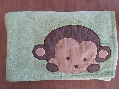 Kidsline Green Brown Monkey Baby Blanket Soft Fluffy Kids Line