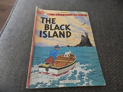 Vintage Herge's Adventures of Tintin, The Black Island Paperback comic book.1979