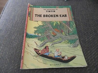 Vintage Herge Adventures of Tintin, The Broken Ear, paperback comic, 1979