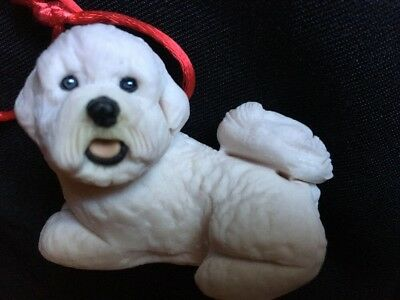 BICHON FRISE Xmas Tree ORNAMENT Polish Poland white dog Resin Puppy Pup