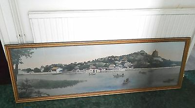 A large antique Oriental embroidery Chinese river/lake scene landscape picture.