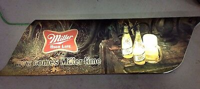 Large Miller High Life Now Comes Miller Time Lighted Wall Hanging Sign 64x15x7.5