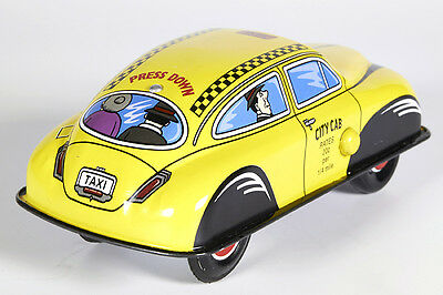 Lot 2040 Taxi, Car, Auto, OVP, press down Tin Toy, Schylling