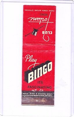 Club Fortune Bingo Joint Second St In 1937 Reno Nevada Matchcover