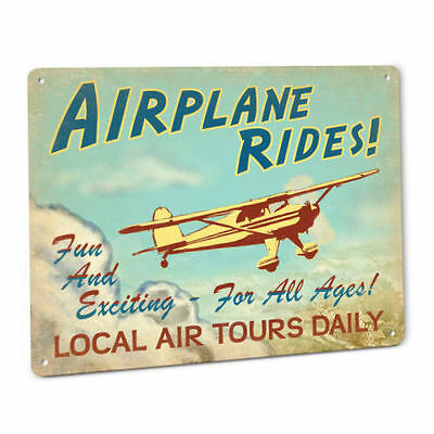 Airplane Rides Sign Luscombe Vintage Aviation Pilot Ace Aircraft Aerospace Plane