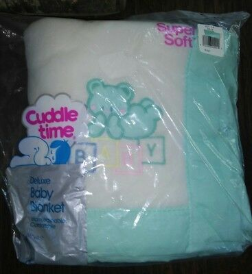 Vtg Cuddle Time Baby Blanket White Acrylic Mint Trim Teddy Bear Blocks USA Lovey