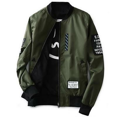 Pilot Bomber Jacket With Patches in Army Green, Black, Gray, Navy