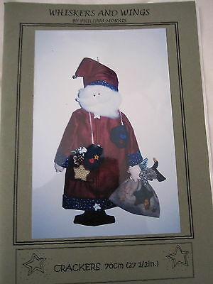 """"""" CRACKERS SANTA """"  CLOTH DOLL PATTERN by Whiskers & Wings"""