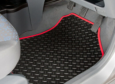 Peugeot Partner Tepee (2008-On) Tailored Rubber Car Mats With Red Trim [2142]