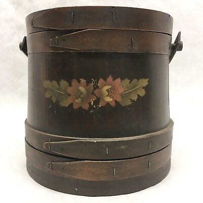 Vintage Tole Painted Wood Firkin with Cover