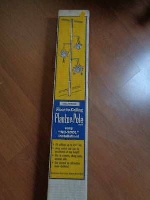 Vintage Mid Century Tension Pole Plant Hanger Display Unused In Box