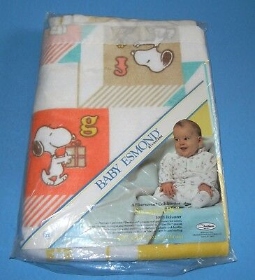 Vtg Chatham New Snoopy Peanuts ABC's Baby Esmond Crib  Blanket  40x45