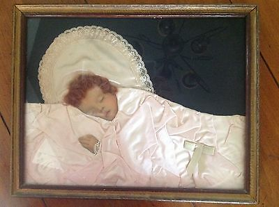 Vtg Antique 1920's Folk Art Real Photo N Hair Baby Picture Real Satin & Lace