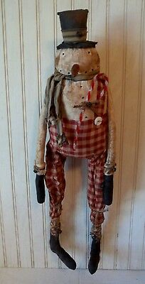 Primitive Grungy Mr. Frosty Long Legged Snowman Christmas Doll & Candy Cane