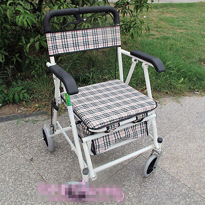 White Lattice 4 Wheels Convenient Foldable Shopping Luggage Trolleys With Seat *