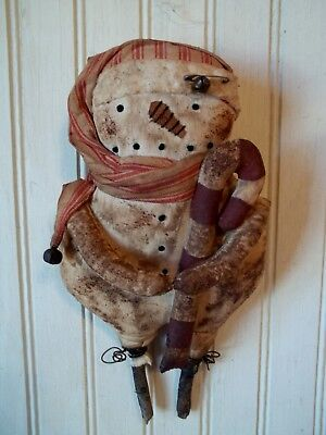 Primitive Grungy Super Grubby Little Snowman Christmas Doll & His Candy Cane