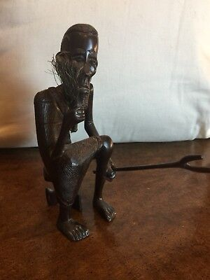 African Tribal Folk Art Hand Carved Wood Vintage Sculpture figure Carved