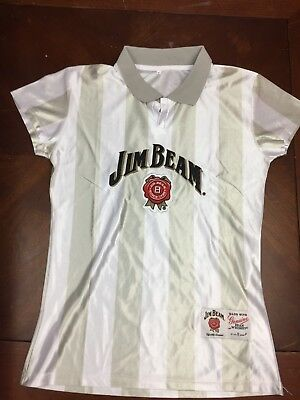 Jim Beam Bourbon Women's Soccer Jersey Shirt Top, Shimmery Satin Small NEW