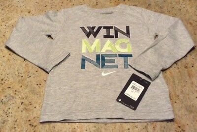 """Nike Boys New Size 4 Long Sleeve Shirt Says """"Win Magnet"""" Gray soft cotton"""