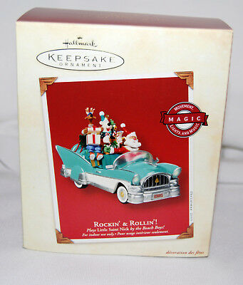 Hallmark 2003 Rockin' & Rollin'! Santa & Friends In Car Magic Fun!  Mint In Box