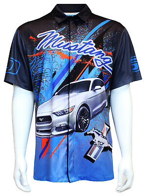 David Carey Ford Mustang Performance Polo Shirt Button Up Collared Short Sleeve Dry-Wicking Shirt with Logo Blue /& Black