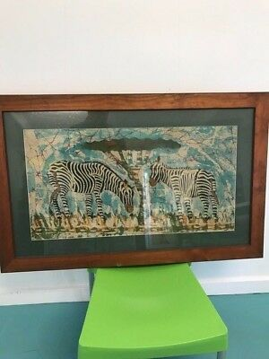 Framed Fabric of Zebra's  Art Work