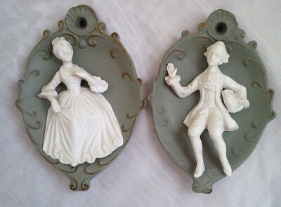Pair 50's Japanese Green high Relief Classic Couple Wall Decor Plaques Statues