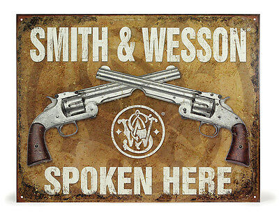 "Smith & Wesson ""Spoken Here"" Metal Tin Sign"