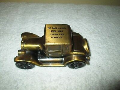 Metal Advertising Vintage Car Piggy Bank Page County State Bank Clarinda Iowa Ia
