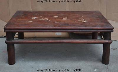 """22""""A old chinese palace huanghuali wood Inlay shell Noble Tea table Writing desk"""