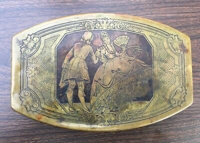 Antique Scovill Victorian Dance Engraved Brass Trinket Vanity Jewelry Box