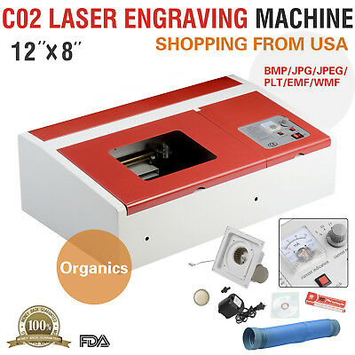 40W 12''X8'' USB CO2 Laser Engraver Cutter Engraving Cutting Machine Red
