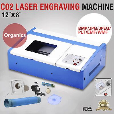 40W USB CO2 Laser Engraver Cutter Commercial Engraving Cutting Machine Blue
