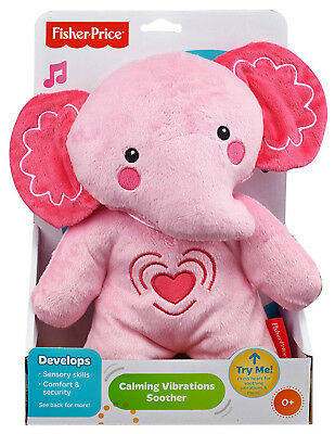 Fisher Price Calming Vibrations Soother Cuddle Toy for Babies Pink Elephant