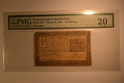 Pennsylvania March 16, 1785 10s PMG Very Fine 20.