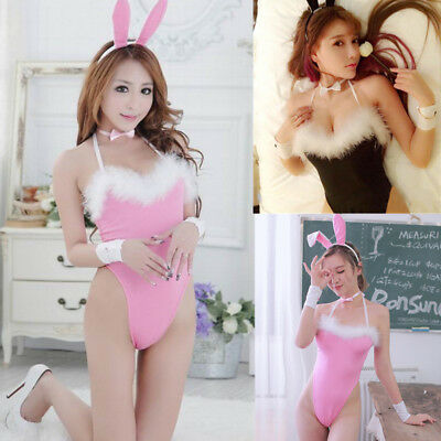 Sexy/Sissy Women Bunny Play Costume Cosplay Babydoll Outfit Nightwear Lingerie
