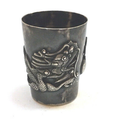 Antique Chinese Export Solid Silver Dragon Shot Sake Cup - RARE