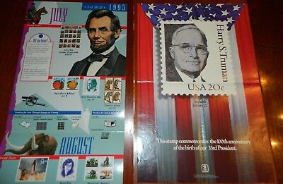 Stamps of 1995 USPS 32c & Harry S Truman USPS 20c 1984 Post Office Lobby Poster