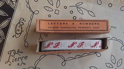 French Vintage Haberdashery Initials NJ Monogram Dowry Linen Clothes Name Tags