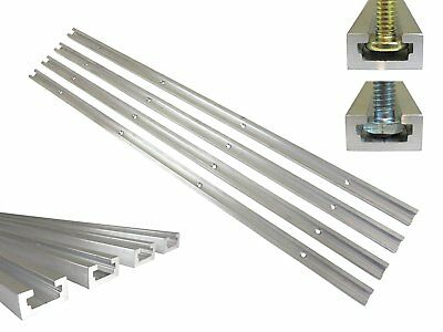 "Lot 4 Each 24"" Aluminum T Track 3/4"" by 3/8"" Slot, Accepts 1/4"" Hex Bolts, 1/4"""