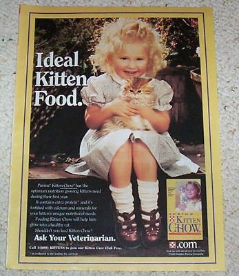 1998 vintage ad page - Purina Cat Chow CUTE little GIRL kitten PRINT AD