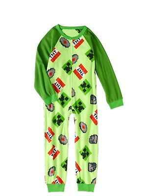 Minecraft Fleece Union Suit Sleeper Pajamas Size 8 or 10/12 NWT