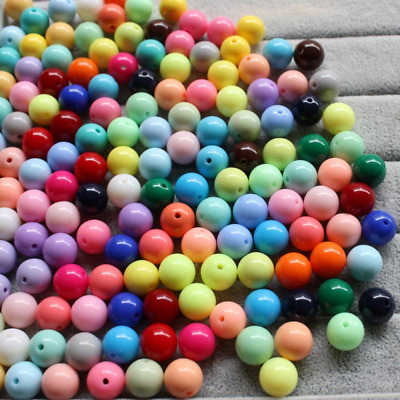 50pcs Solid Acrylic 10mm Chunky Bubblegum Beads Loose Gumball For Bracelet