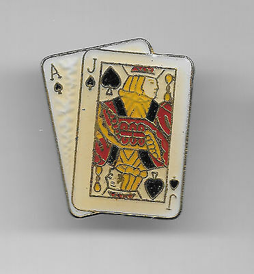 Vintage Blackjack Hand in Spades old enamel pin
